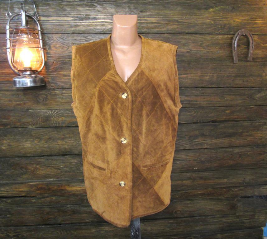 Куртка безрукавка кожаная Gina Tortelli, 44 (L, 16), стеганая, подкл. - шелк, Отл сост!