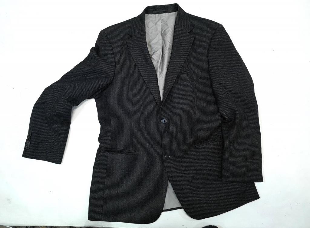 Пиджак стильный Boss, т. серый с полосочкой, Шерсть, Как Новый! (разм. 50, L)