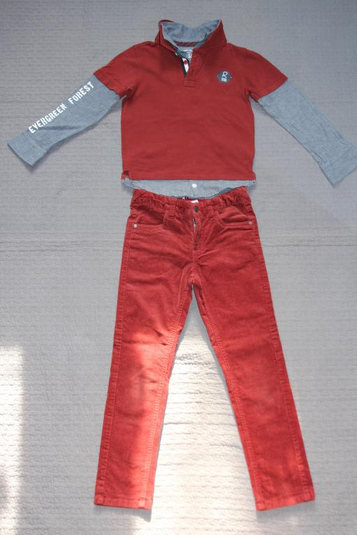 La Redoute: джинсовая куртка, вельветовые брюки, рубашка.