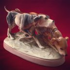 Фарфоровая статуэтка Охотничьи собаки, Royal Dux, Чехословакия, 50-60 г.