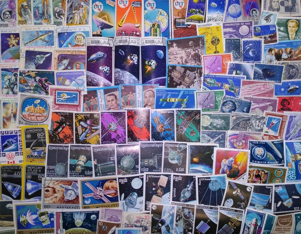 """Коллекция около 100 разных по типу марок """"КОСМОС"""""""