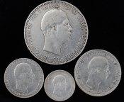 4 монеты: 50 лепта, 1 драхм, 2 драхма, 5 драхм 1901 года. Крит. Серебро 42.3 грамма.