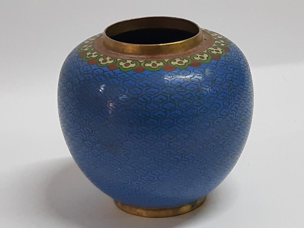 Старинная Чайница Эмали Клуазоне Китай Редкая h - 8,5 х 9 см  с рубля