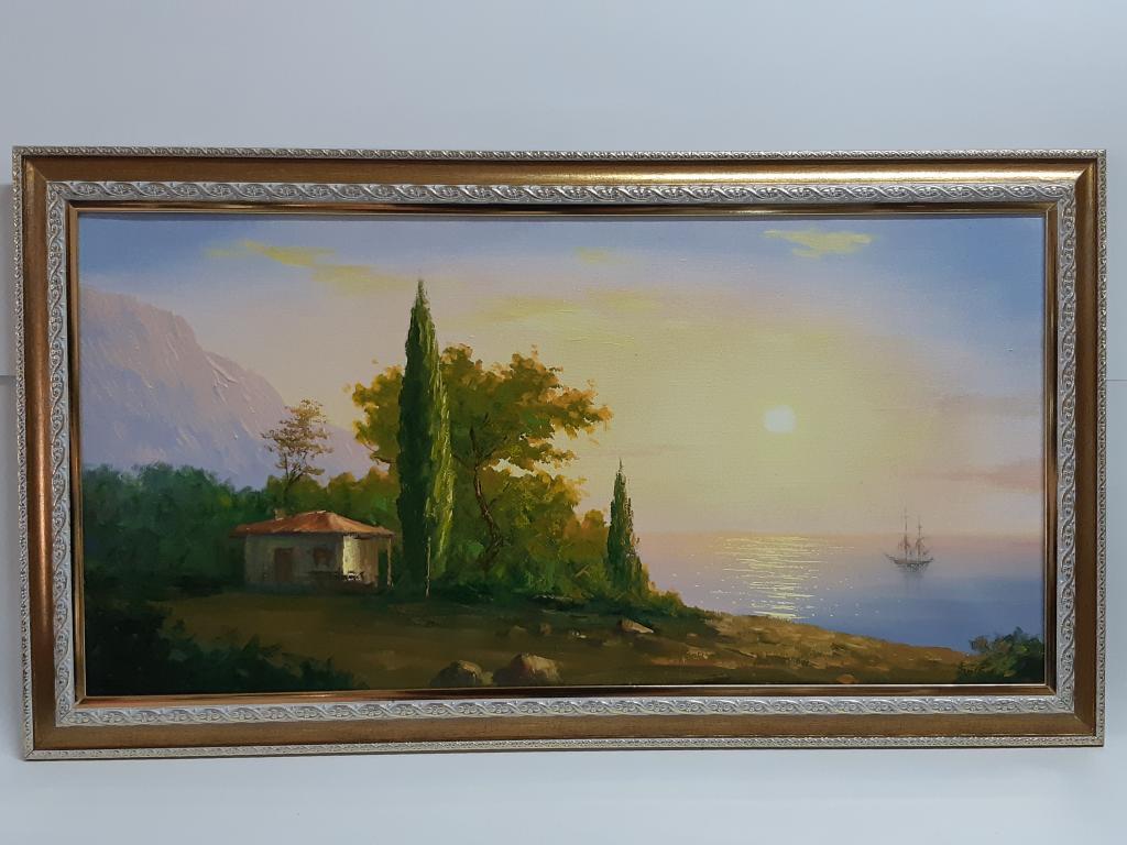 Картина Корабль  Домик у моря Холст масло Худ; С.Баровский раз; 38*68 см С Рубля.