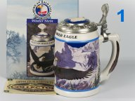 Коллекционная керамическая пивная кружка АНХЕУЗЕР-БУШ 1998 ЗИМА CS293 Американский белоголовый орел