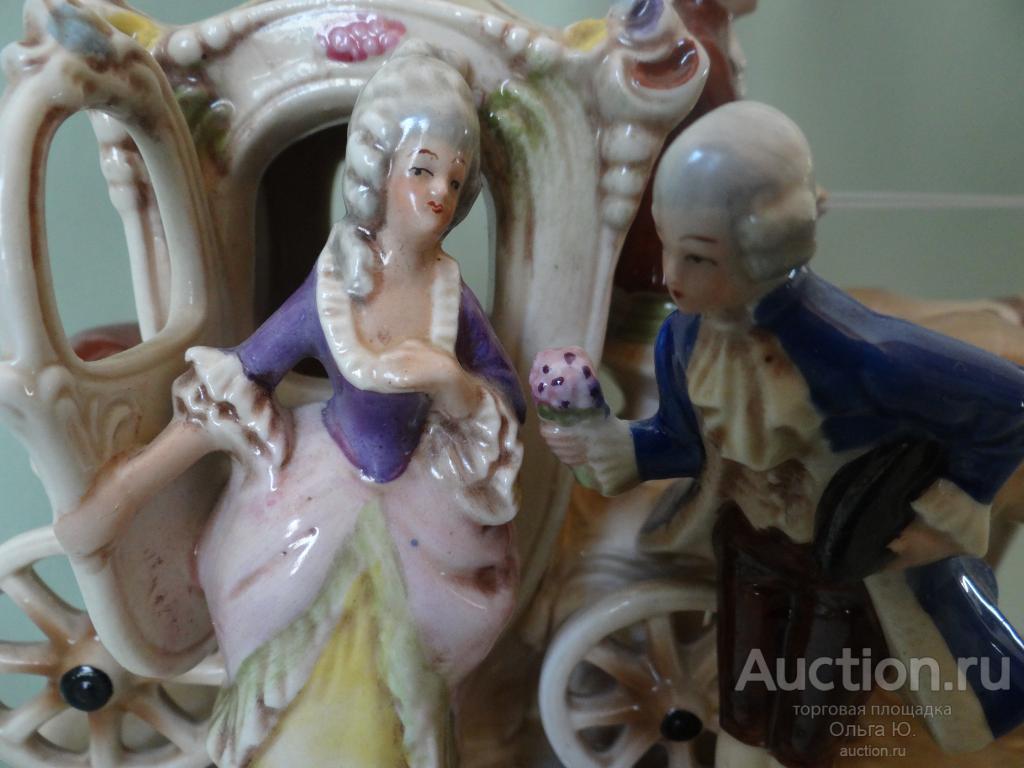 """Винтажная фарфоровая композиция """"Дама и кавалер"""", Клеймо  Gräfenthal. Германия"""