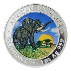 100 шиллингов 2009 год. Сомали. Африканская дикая природа. Слон. Серебро 999. 31.1 грамм.