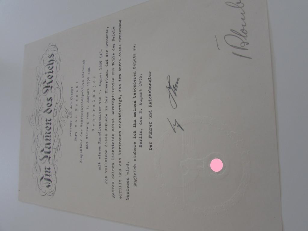 приказ о присвоении высшего офицерского звания подпись автограф Адольф Гитлер 3 рейх Мега Раритет