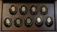 5 долларов 2012 и 2013 года. Императорские яйца Фаберже. Набор 9 шт. Золото 900 пр - 54 гр. Редкий!