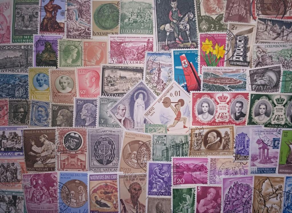 Андорра, Лихтенштейн, Сан-Марино, Монако, Ватикан, Люксембург - коллекция 100 разных марок