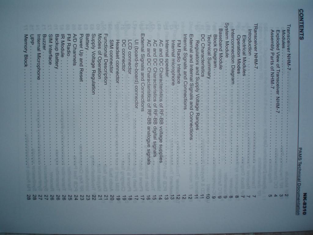 Подробнейшее описание (Service Manual) со схемами на сотовый телефон NOKIA 8310 NK8310 Transceiver