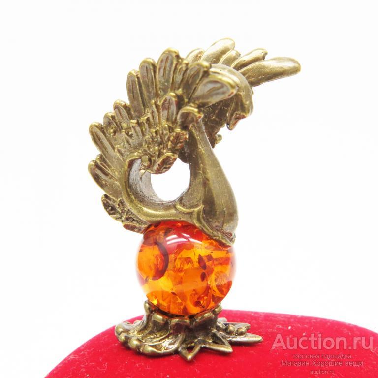 Фигурка Лебедь Янтарь бронза миниатюра статуэтка 1202