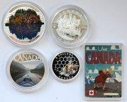 5 монет: 1 доллар 2015, 10 долларов 2013, 2017,20 долларов 2016, 3 доллара 2013, Канада. Серебро.