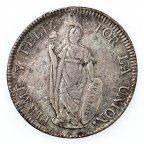 4 реала 1848 год. Перу. Серебро 13.3 грамма