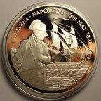 25 фунтов 1986 год. 165 лет со дня смерти Наполеона I. О-ва Святой Елены. Серебро 999 - 155.52 гр.