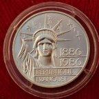 Франция 100 франков 1986 100 лет Статуи Свободы Двойная Пьедфорт! Редкая, Серебро.  См. Другие лоты!