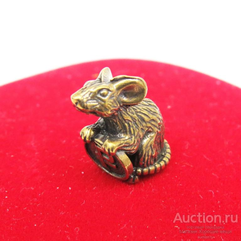 Кошельковая Мышка с Рублём латунь бронза миниатюрная сувенир талисман мышь Новая 1323