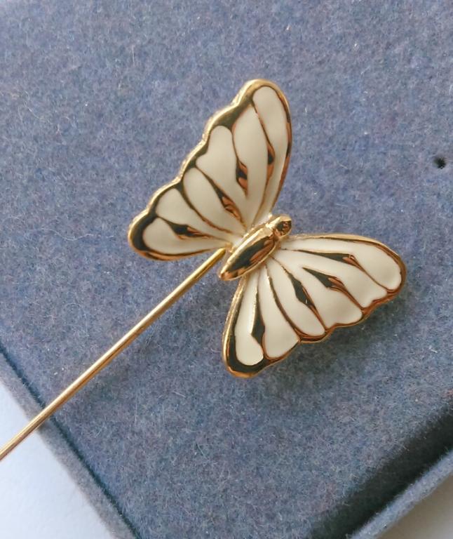 3317/3 брошь игла Бабочка TRIFARI эмаль золочение бижутерия винтаж США 1970