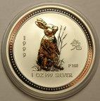 1 доллар 1999 год. Серия ЛУНАР: Год Кролика. В позолоте. Австралия. Серебро!