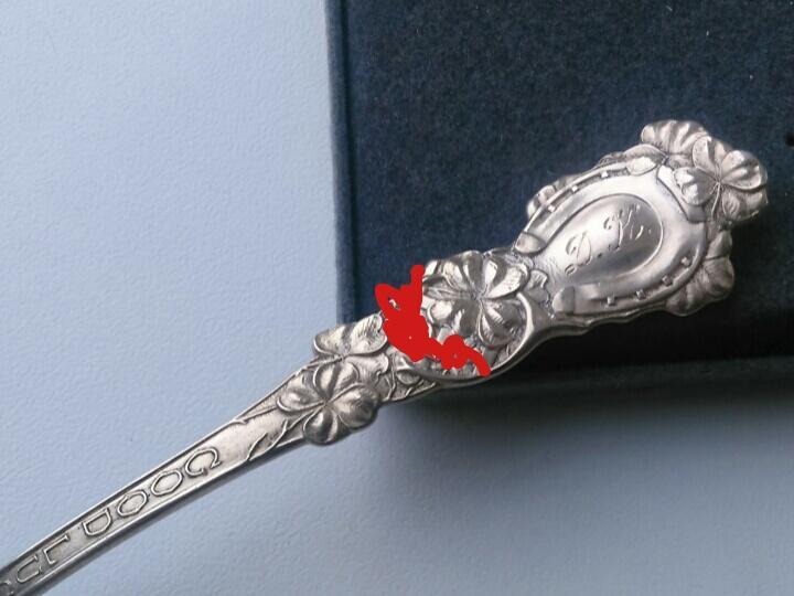3316 редкая старинная серебряная чайная ложка свастика США 1910 серебро рейх удача подкова клевер