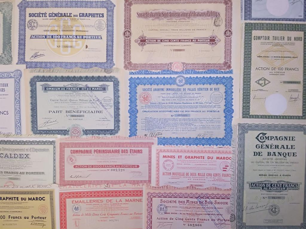 30 разных ценных бумаг с начала 20 века
