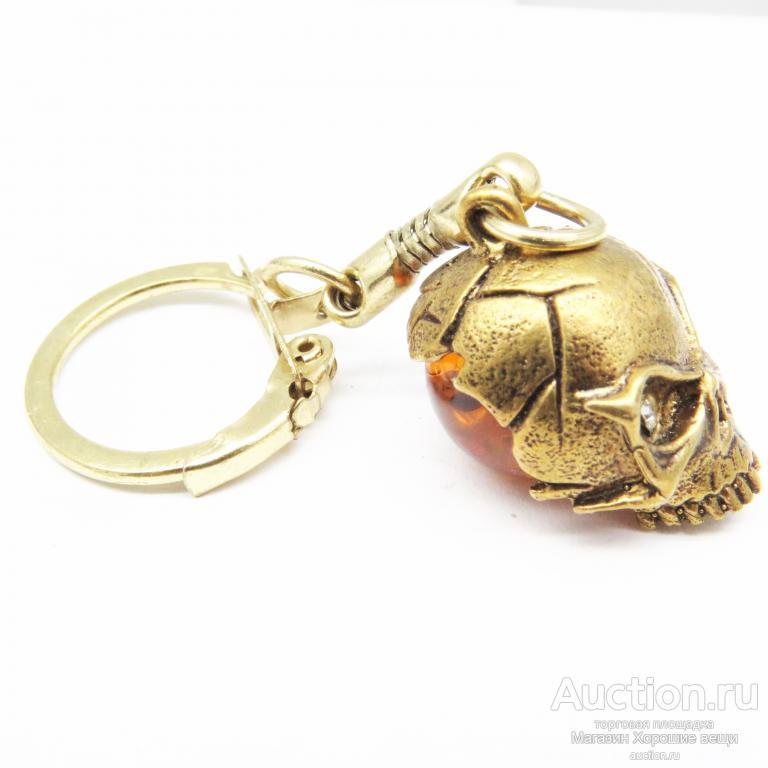Брелок Золотая Рыбка бронза Янтарь латунь Калининград сказочная море Новый 566