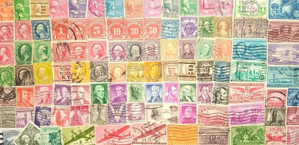 Коллекция более 100 разных по типу старинных марок США без резерва