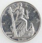 10 лир 1936 год. Виктор Эммануил III. Италия. Серебро 10,03 грамма. Редкая.