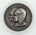 Настольная медаль Перелет через Атлантику 1928 год. Бремен. Германия. Серебро, 900 пр.