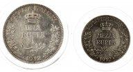 2 монеты: 1 и 1/2 рупия 1912 год.  Итальянское Сомали. Серебро.17.3 грамма.