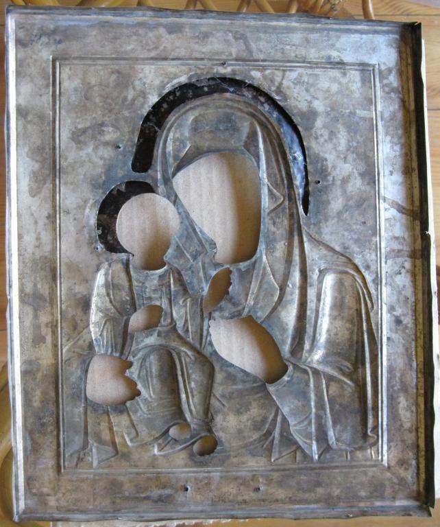Оклад под икону Богоматерь Иверская, эмалевый венец, серебро, 84 проба