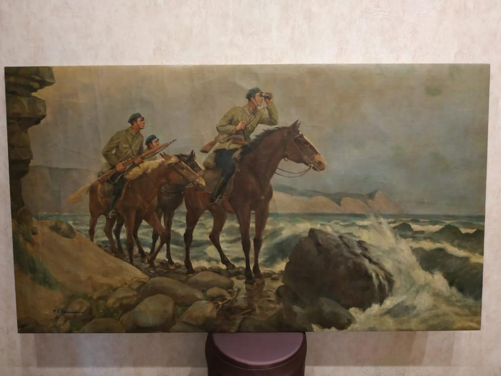 """Картина соцреализм """"Пограничники на страже рубежей»..Огромное полотно!!!"""