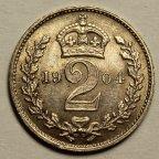 2 Пенсо 1904 год. Король Эдуард VII. Великобритания. Серебро!
