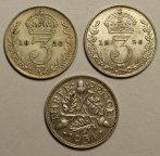 3 Пенсо 1920, 1926 и 1934 год. Король Георг V. Великобритания. 3 монеты. Серебро!