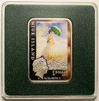 1 доллар 2010 год. Жан Клод Моне. Женщина с зонтиком. Цветная. Ниуэ. Серебро!