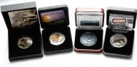 4 монеты: 1 доллар 2011, Тувалу, 10$ 2013, Фиджи, 2$ 2014, Ниуэ, 2 евро 2016 год, Юж. Георгия.