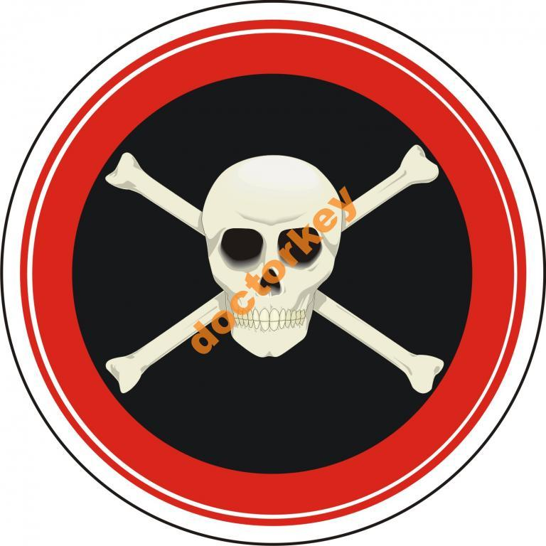 Наклейка Череп с костями круглая
