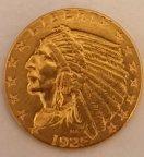 Золотая монета 2,5 долларов, Голова индейца, США. 1925 г. 4.18 гр.