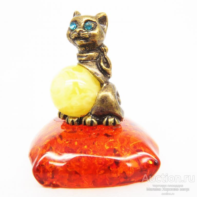 Фигурка Кошечка на подушке Янтарь пластика Бронза латунь кошка кот миниатюра Россия 591