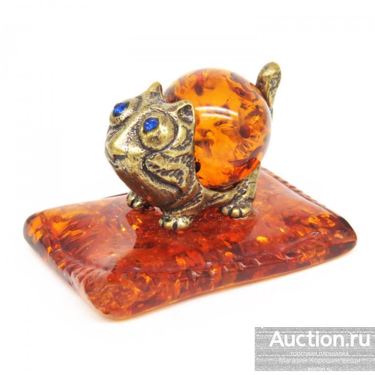 Настольная миниатюра Толстый Кот фигурка статуэтка Янтарь бронза кошка латунь Новая подарок 547