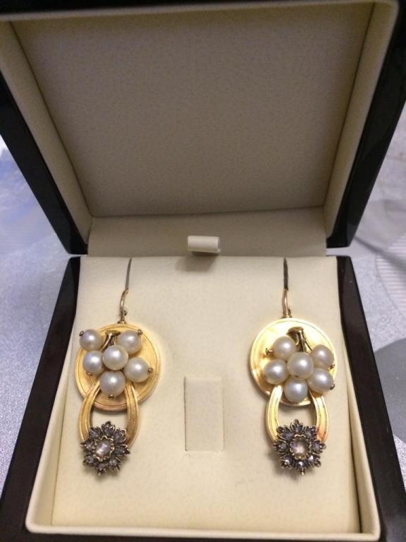 Старинные золотые серьги с жемчугом и бриллиантами, золото 56 пробы, до 1917