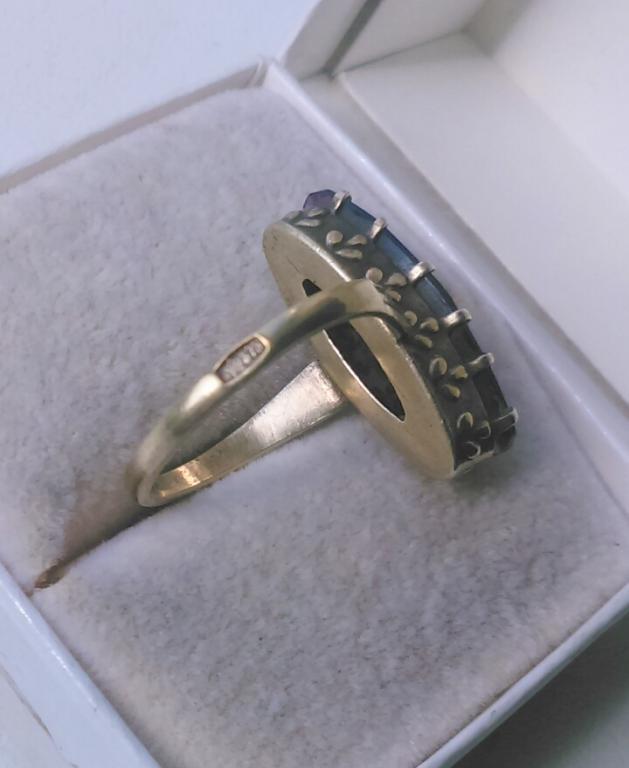 Советское серебряное кольцо золочение корунд серебро 875 со звездой СССР 1960