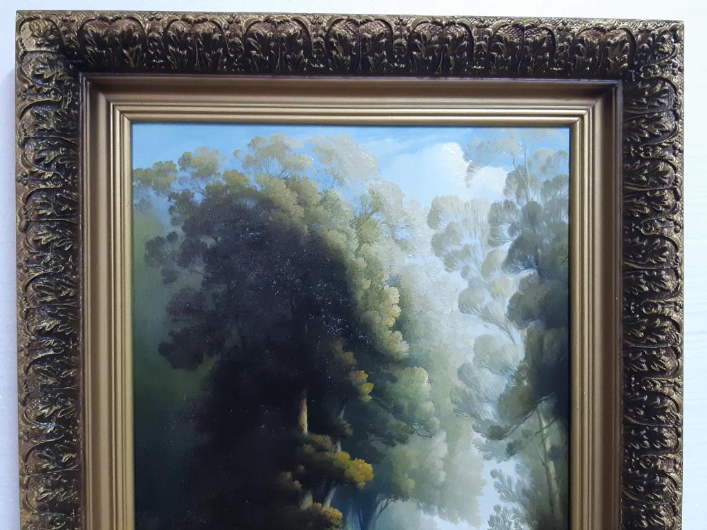 Картина Отдых в лесу Холст масло Худ; Леусенко 2001 год раз; 55*75  см С Рубля.