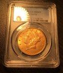 "Золотая монета 20 долларов ""Либерти"" 1907 г., США, 33,43 гр.,MS62, PCGS, С РУБЛЯ!"