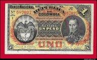 1 песо 1895 Колумбия состояние aUNC R !