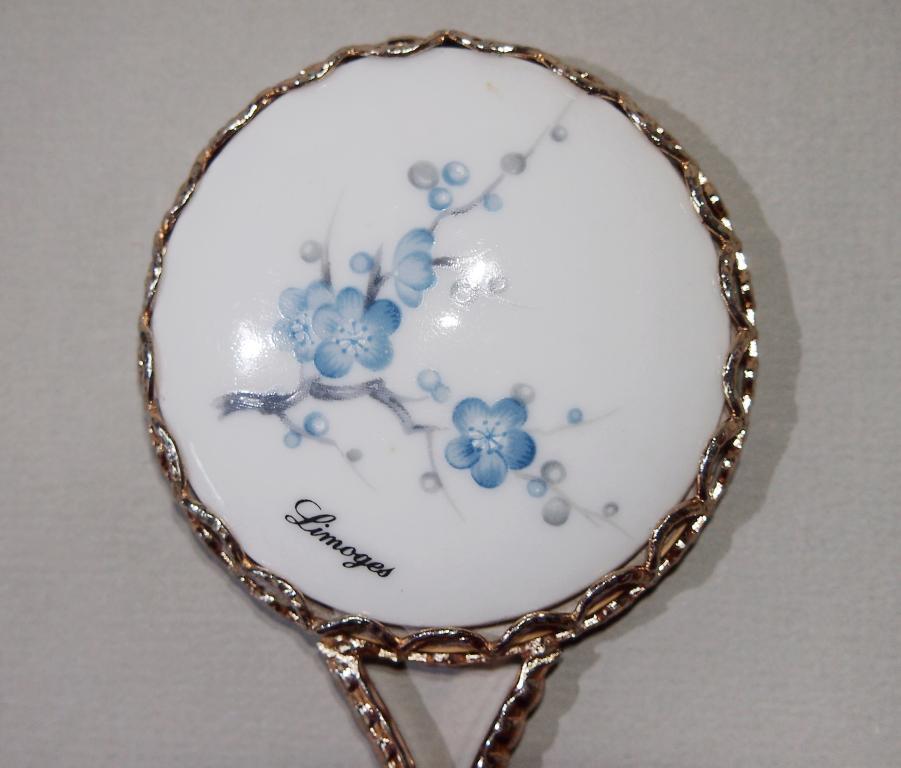 Винтажное ручное фарфоровое ЗЕРКАЛЬЦЕ Франция Лимож винтаж - лиможский фарфор - зеркало