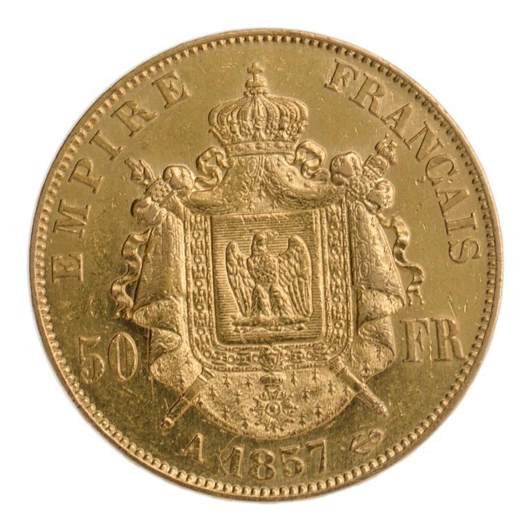 50 франков 1857 год. Франция.  Золото. вес: 16.1 грамм.