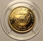 50 франков 1967 год. Годовщина независимости.Модибо Кейта - президент Мали. Золото 900 - 16 г. ПРУФ!