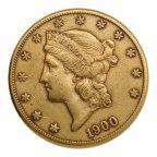 20 долларов 1900 год. США, Голова Свободы, Золото, 900 проба, вес: 33,4 грамм.
