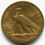 10 долларов 1909 год. Индеец и Орел. Золото.